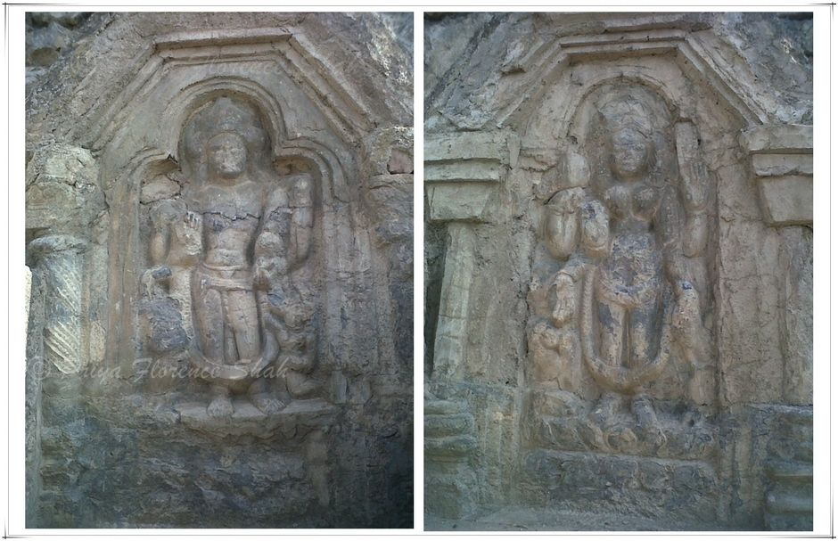 Hindu god and goddess carved into the walls
