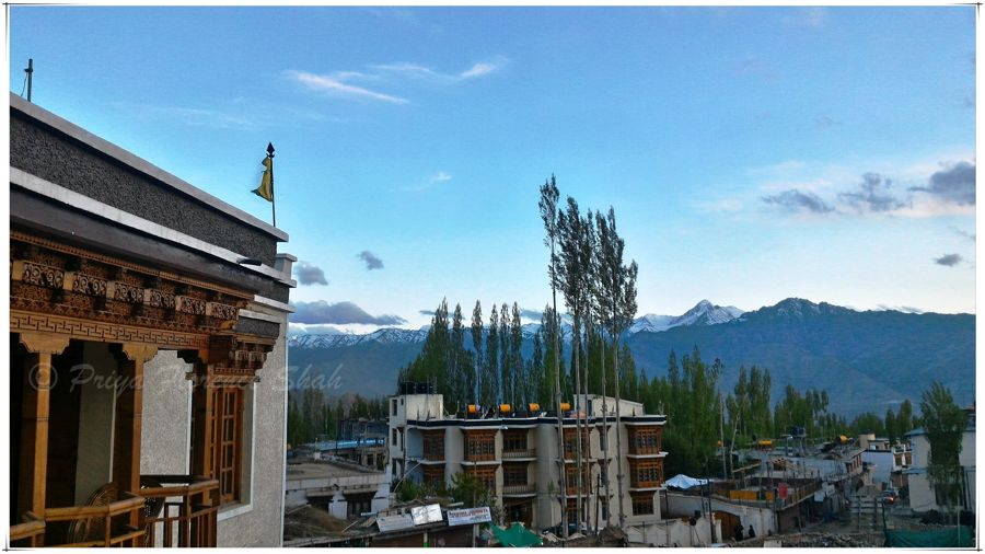 The view from the Grand Willow hotel in Leh