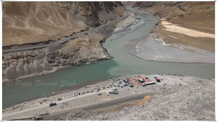 Y-shaped Confluence of the Zanskar and Indus Rivers from the road above