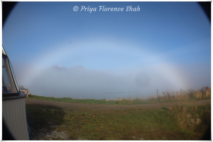 A fog bow over the Lyngenfjord