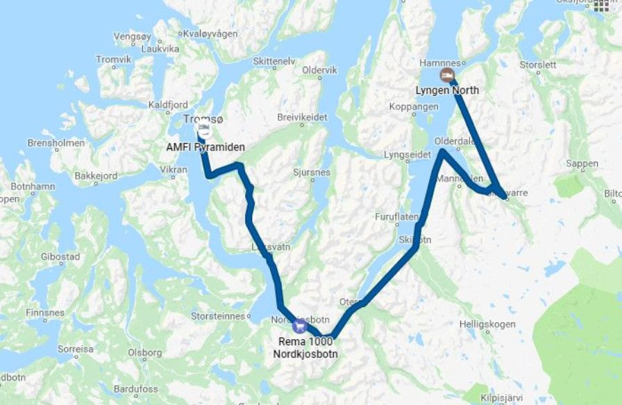 The route from Tromso to Lyngen North