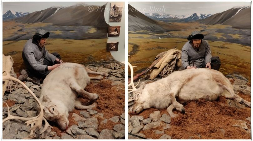 A very-lifelike exhibit of a reindeer hunter with his kill
